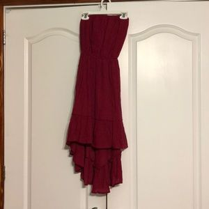 High/low dress with belt